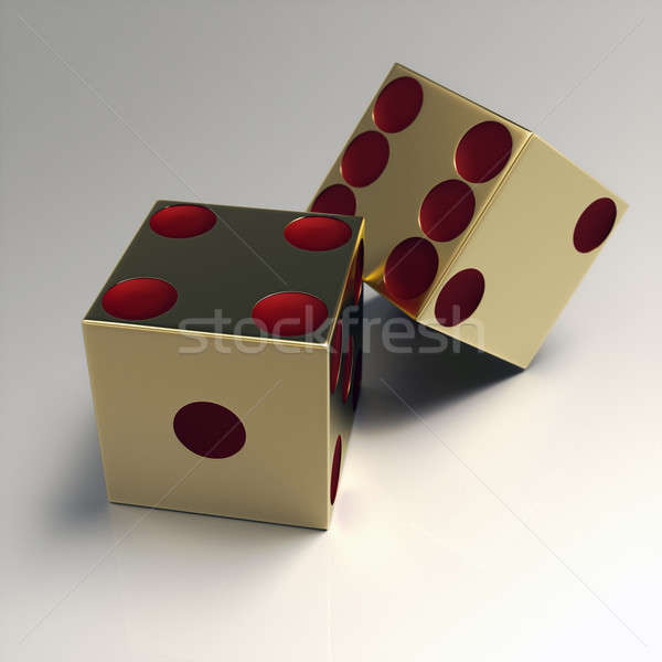 Golden right handed casino dice Stock photo © bestmoose