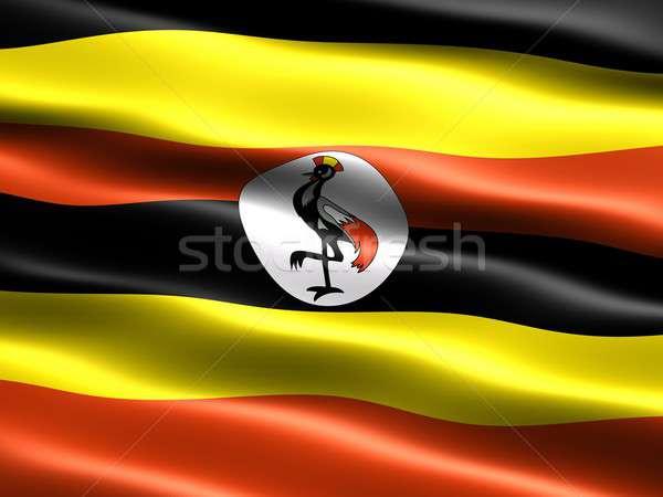 Bayrak Uganda bilgisayar oluşturulan örnek ipeksi Stok fotoğraf © bestmoose