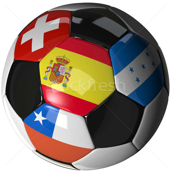 Soccer ball over white with 4 flags - Group H 2010 Stock photo © bestmoose