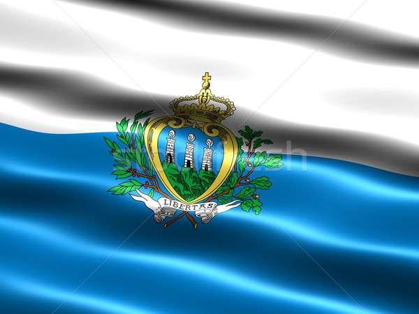 Banderą San Marino komputera wygenerowany ilustracja jedwabisty Zdjęcia stock © bestmoose