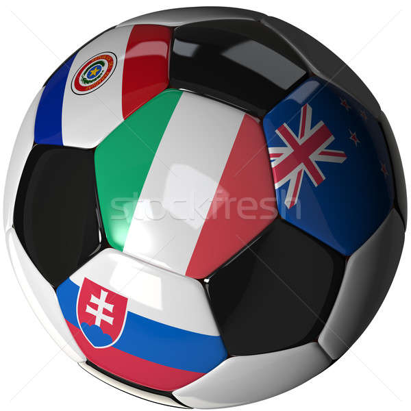Soccer ball over white with 4 flags - Group F 2010 Stock photo © bestmoose