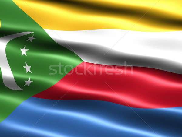 Bandeira Comores computador gerado ilustração sedoso Foto stock © bestmoose