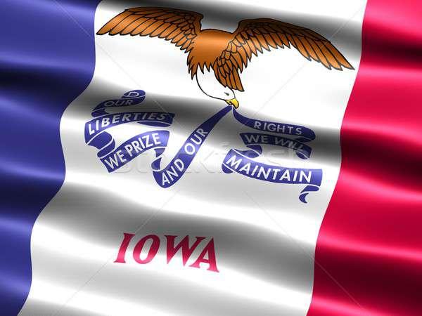 Banderą Iowa komputera wygenerowany ilustracja jedwabisty Zdjęcia stock © bestmoose