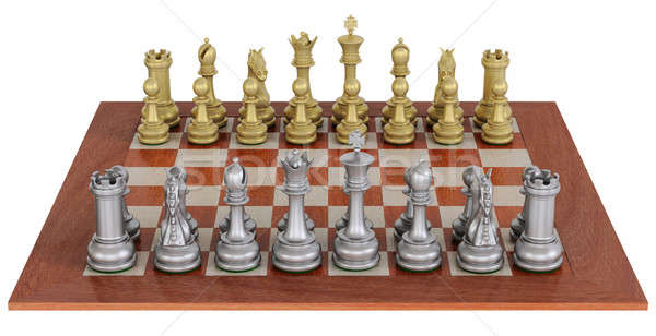 Metal chess set on wooden board Stock photo © bestmoose