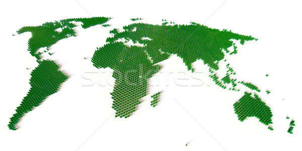 Világtérkép néhány ezer kockák zöld kontúrok Stock fotó © bestmoose