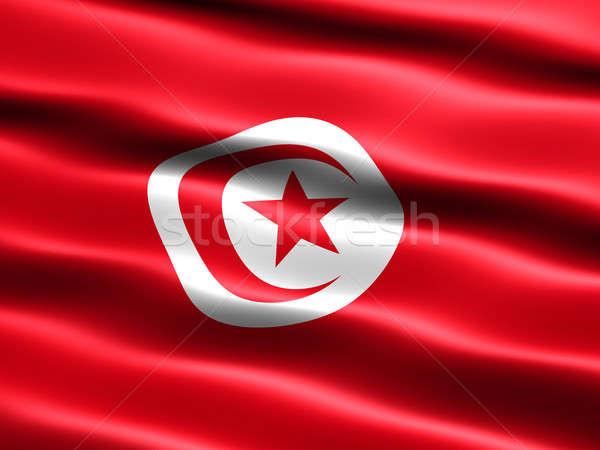 Banderą Tunezja komputera wygenerowany ilustracja jedwabisty Zdjęcia stock © bestmoose