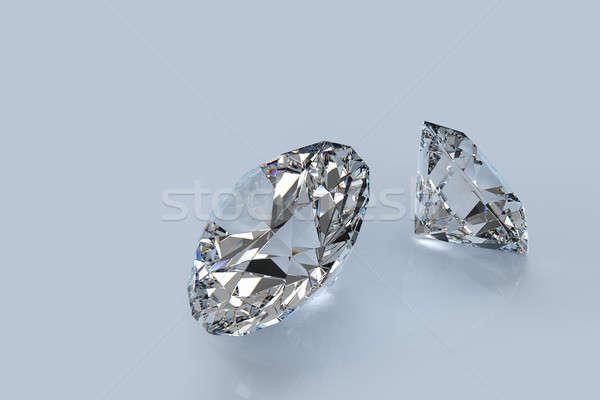 Dois diamantes perfeito cortar fogo Foto stock © bestmoose