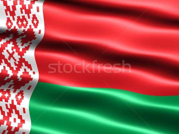 Banderą Białoruś komputera wygenerowany ilustracja jedwabisty Zdjęcia stock © bestmoose