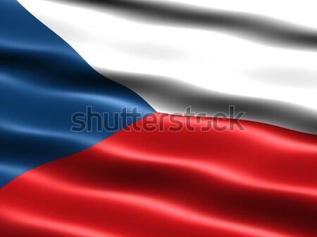Zászló Csehország számítógép generált illusztráció selymes Stock fotó © bestmoose