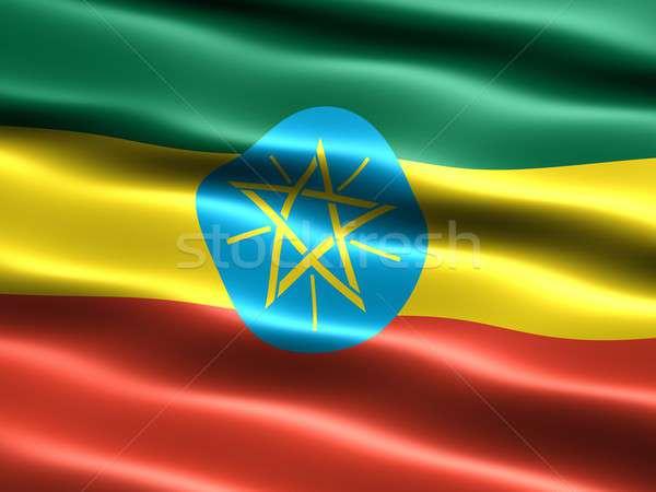 Zászló Etiópia számítógép generált illusztráció selymes Stock fotó © bestmoose