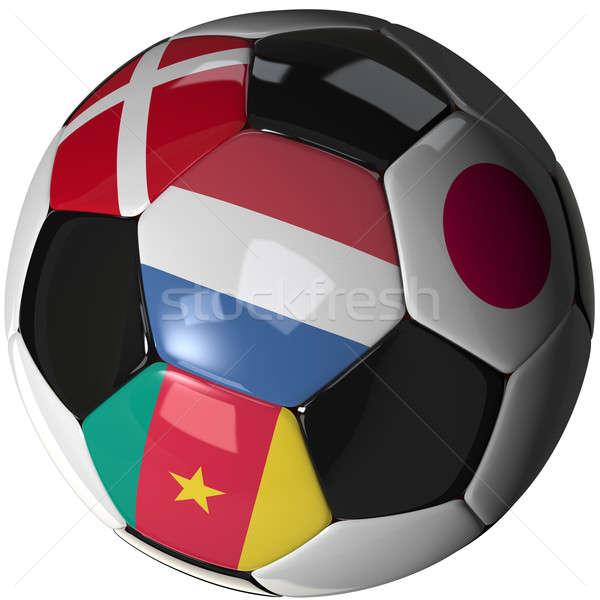 футбольным мячом белый флагами группа 2010 высокий Сток-фото © bestmoose