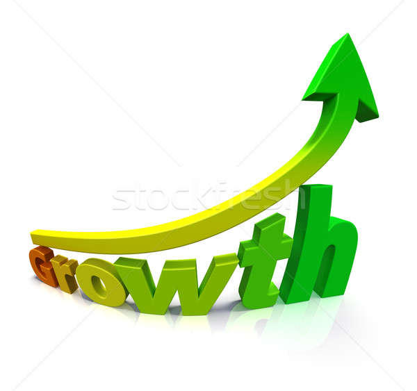 Gradient colored arrow and the word Growth Stock photo © bestmoose