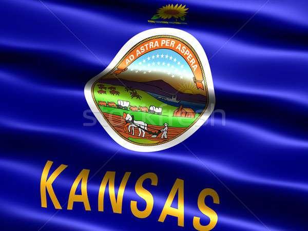 Bayrak Kansas bilgisayar oluşturulan örnek ipeksi Stok fotoğraf © bestmoose