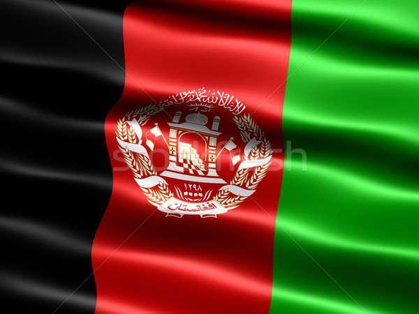 флаг Афганистан компьютер генерируется иллюстрация шелковистый Сток-фото © bestmoose