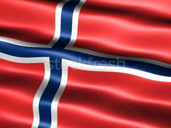 Zászló Norvégia számítógép generált illusztráció selymes Stock fotó © bestmoose
