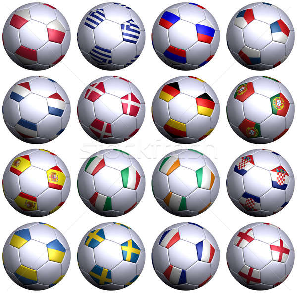 Sixteen soccer balls with flags of the 2012 European Championshi Stock photo © bestmoose
