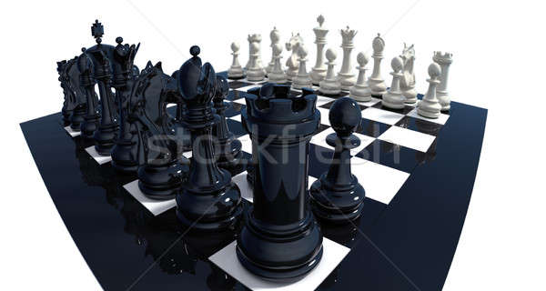 Dramatic view on chess set Stock photo © bestmoose