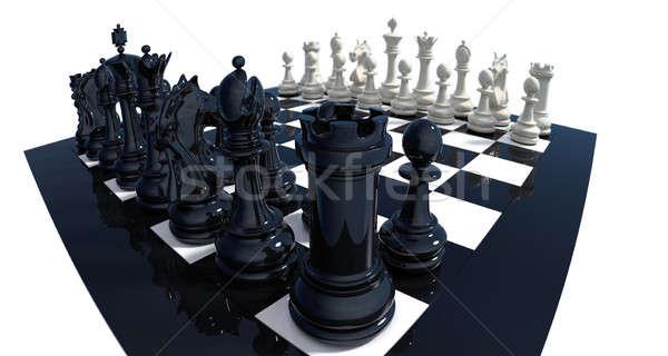 Dramatyczny widoku szachy zestaw wysoki szczegółowy Zdjęcia stock © bestmoose