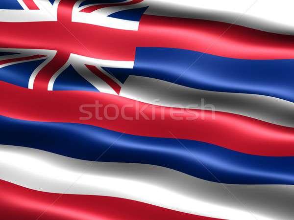 Stock fotó: Zászló · Hawaii · számítógép · generált · illusztráció · selymes