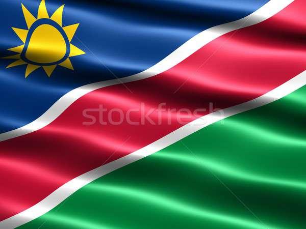 флаг Намибия компьютер генерируется иллюстрация шелковистый Сток-фото © bestmoose