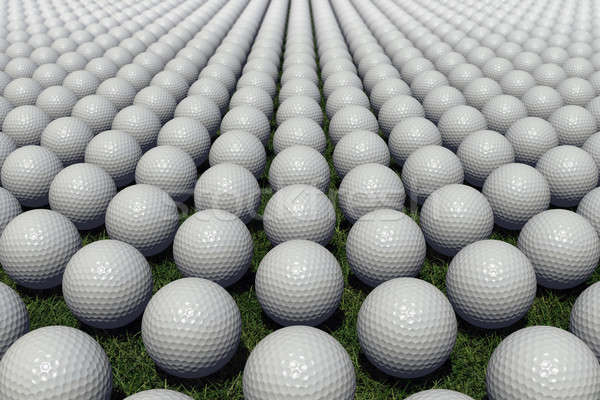 Hundreds of golf balls lined up on a meadow Stock photo © bestmoose