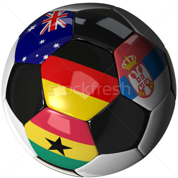 Soccer ball over white with 4 flags - Group D 2010 Stock photo © bestmoose