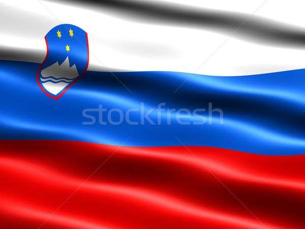 Zászló Szlovénia számítógép generált illusztráció selymes Stock fotó © bestmoose