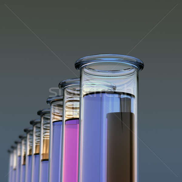 Ten test tubes with two colored liquids Stock photo © bestmoose