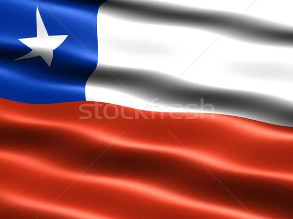 Bayrak Şili bilgisayar oluşturulan örnek ipeksi Stok fotoğraf © bestmoose