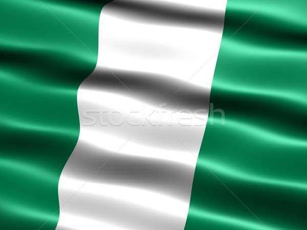 Banderą Nigeria komputera wygenerowany ilustracja jedwabisty Zdjęcia stock © bestmoose
