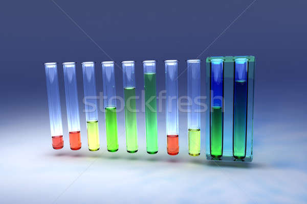 Ten test tubes with colored liquids Stock photo © bestmoose