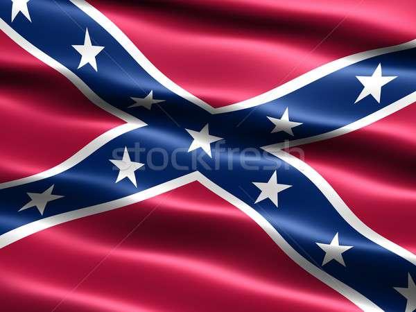 Rebel vlag computer gegenereerde illustratie zijdeachtig Stockfoto © bestmoose