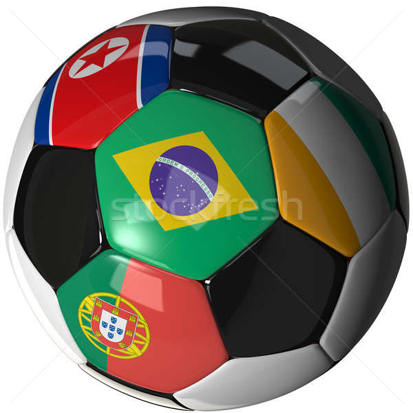 Soccer ball over white with 4 flags - Group G 2010 Stock photo © bestmoose