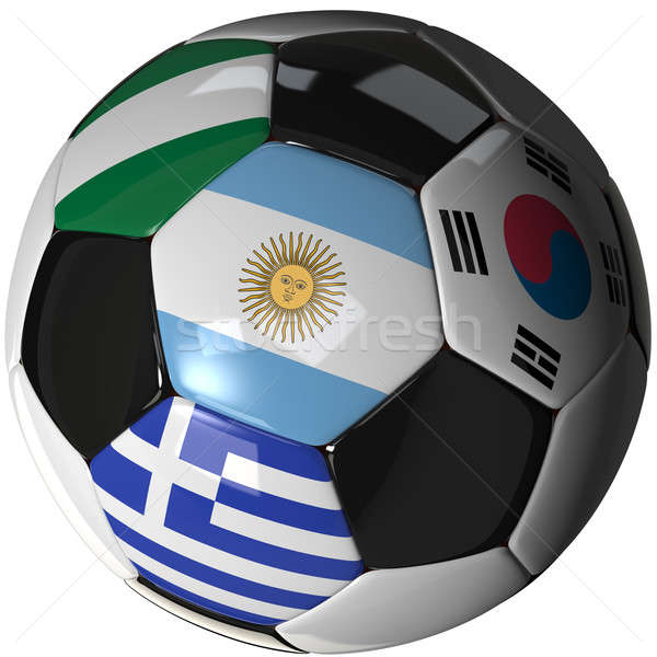 Soccer ball over white with 4 flags - Group B 2010 Stock photo © bestmoose