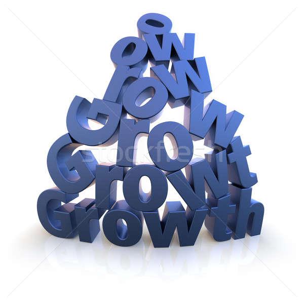 Büyüme piramit mavi beyaz kelime mektup Stok fotoğraf © bestmoose