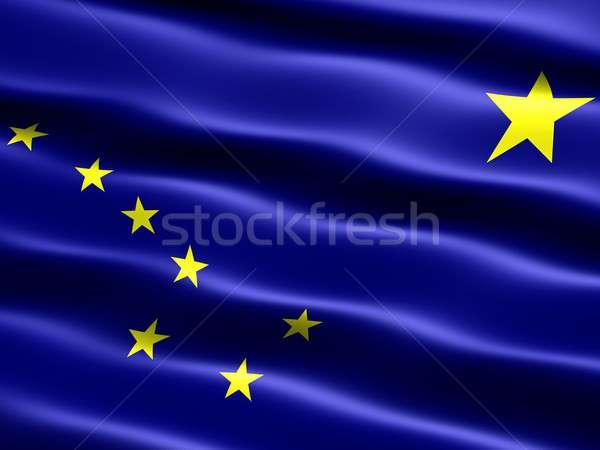 Banderą Alaska komputera wygenerowany ilustracja jedwabisty Zdjęcia stock © bestmoose