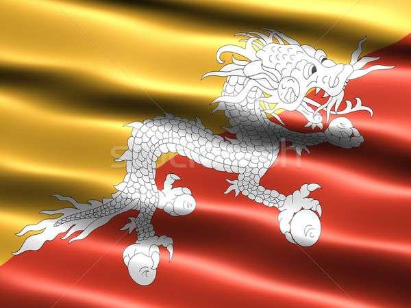 Vlag Bhutan computer gegenereerde illustratie zijdeachtig Stockfoto © bestmoose