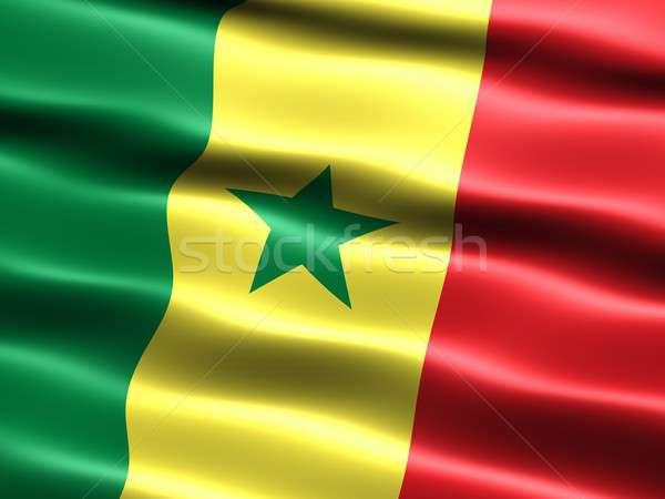 Banderą Senegal komputera wygenerowany ilustracja jedwabisty Zdjęcia stock © bestmoose