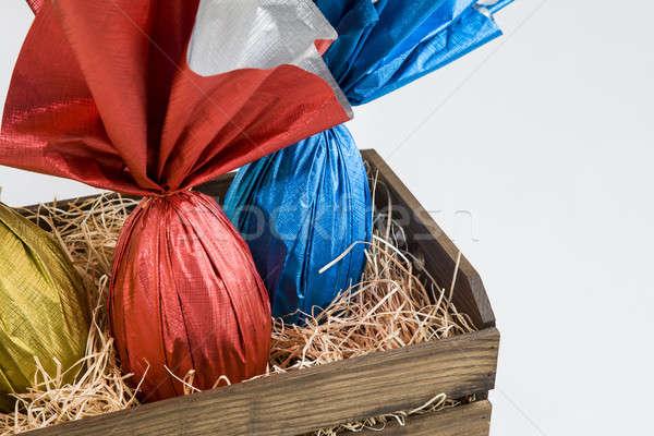 яйца корзины белый шоколадом Bunny празднования Сток-фото © betochagas