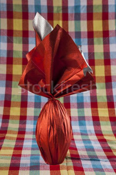 яйцо красный бумаги кролик шоколадом Сток-фото © betochagas