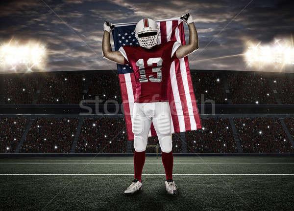 футболист красный равномерный американский флаг стадион спорт Сток-фото © betochagas