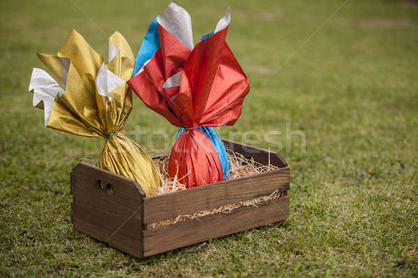яйца корзины трава шоколадом яйцо праздник Сток-фото © betochagas
