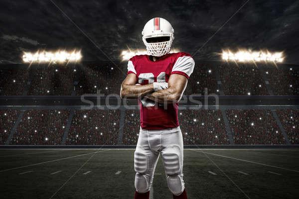 Voetballer Rood uniform stadion sport mannen Stockfoto © betochagas