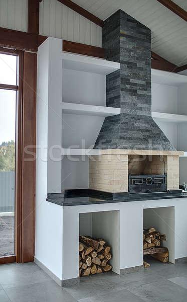 Chambre cheminée lumière brique gris cheminée Photo stock © bezikus