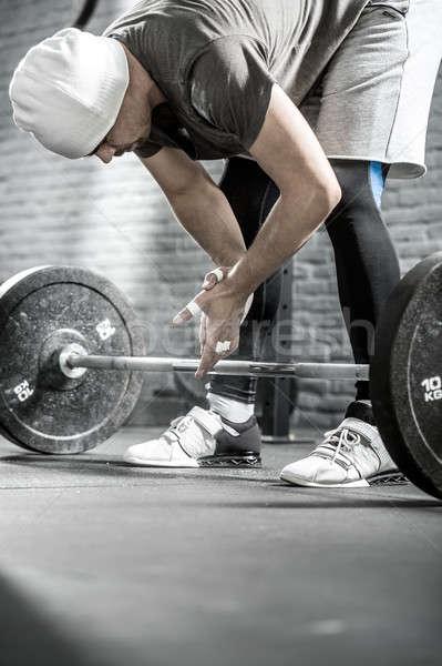 Crossfitの トレーニング バーベル いい 男 あごひげ ストックフォト © bezikus
