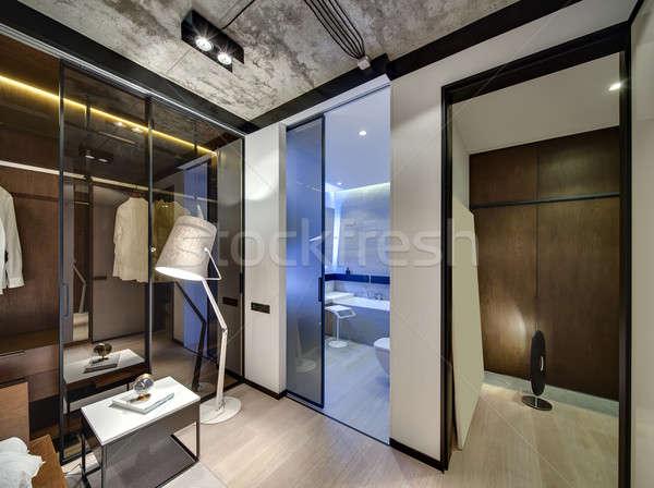 Kamer vliering stijl interieur witte muren Stockfoto © bezikus