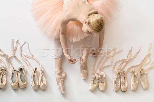 Stockfoto: Blond · ballerina · studio · sensueel · witte · vloer