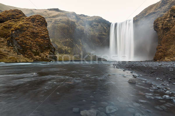 Icelandic landscape of waterfall Stock photo © bezikus