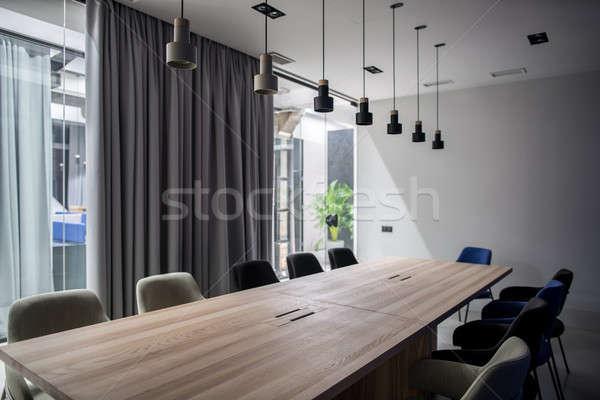 Stijlvol conferentiezaal grijs glas muren kantoor Stockfoto © bezikus