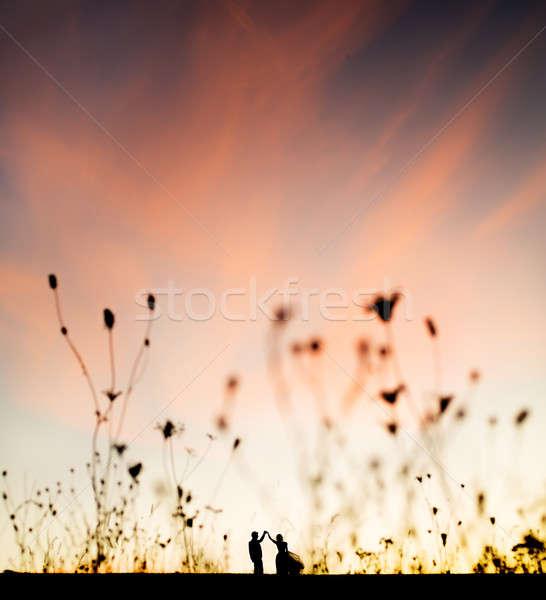 Stock photo: sunset dancing